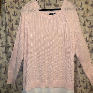 Pretty pink sweater.